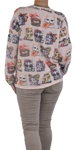 Beżowy sweter w kotki