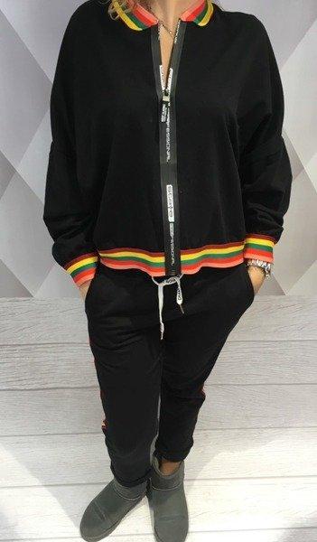 Bluza czarna z kolorowym lampasem
