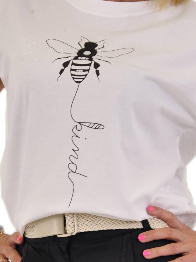 Bluzka biała bawełniana z owadem.