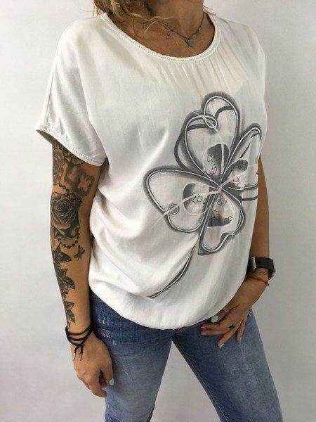 Bluzka biała kwiat