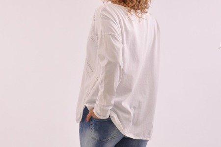 Bluzka biała w napisy