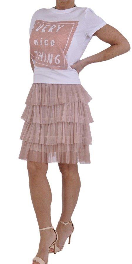 Bluzka biała z różowym kwadratem i napisem