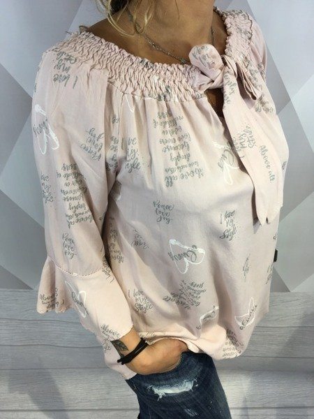 Bluzka hiszpanka z nadrukiem róż