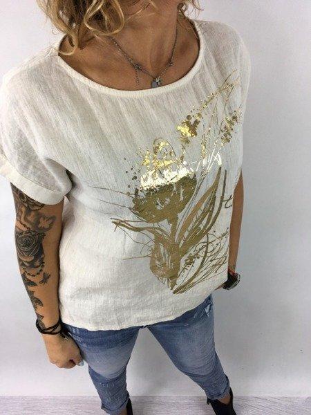 Bluzka len beż złoto