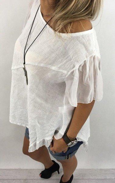 Bluzka len falbana tiul biała