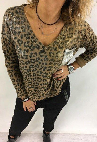 Bluzka pantera srebrna kieszeń brąz
