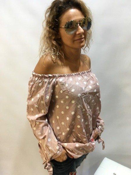 Bluzka w grochy różowa odkryte ramiona
