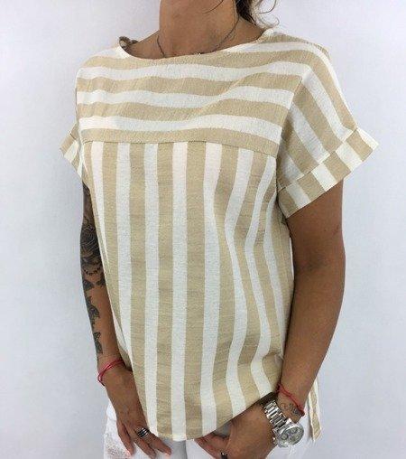 Bluzka w złote paski.