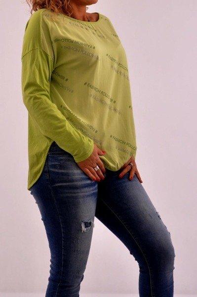 Bluzka zielona w napisy