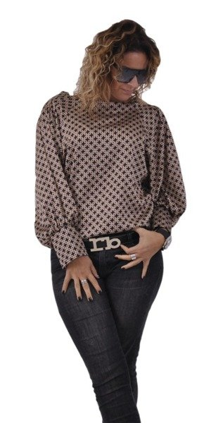 Czarna bluzka w beżowy wzór z mankietem