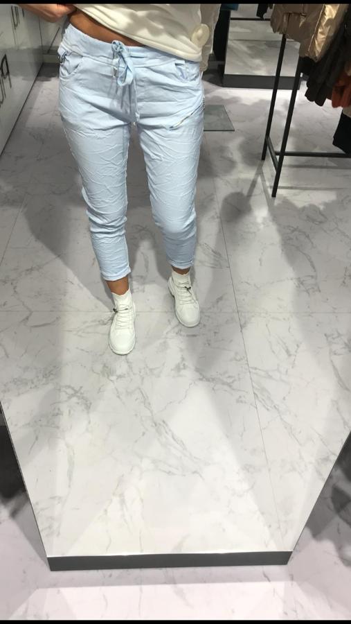 Elastyczne spodnie niebieskie z zamkiem na boku