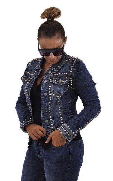 Jeansowa kurtka z ćwiekami L