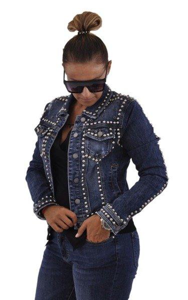 Jeansowa kurtka z ćwiekami XL