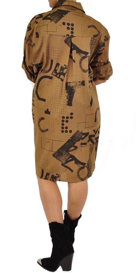 Koszula camelowa w czarny print długa