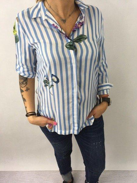 Koszula w niebieskie paski i kwiaty S.