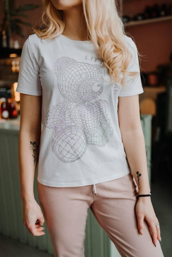 Mieniąca sie bluzka biała z misiem L/XL