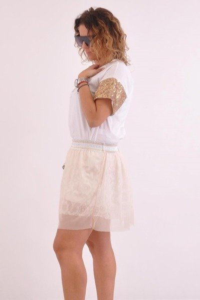 Spódnica beżowa krótka tiul