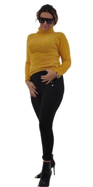 Spodnie czarne leginsy guziki L/XL