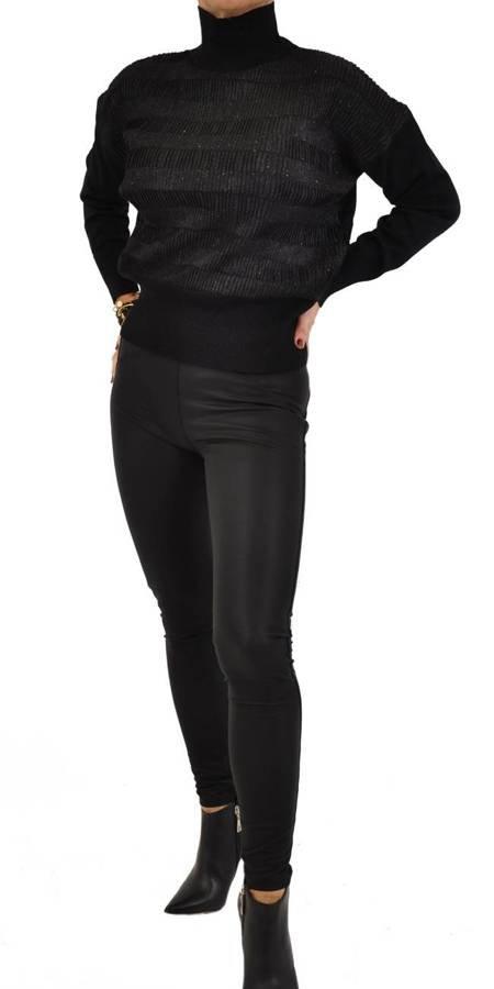 Spodnie czarne skóra M push-up