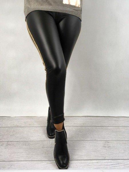 Spodnie czarne złoty lampas