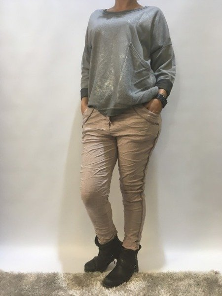 Spodnie dresowe sztruksowe ze zdobieniem