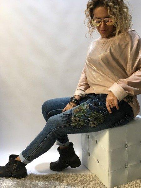 Spodnie jeans w kwiaty S