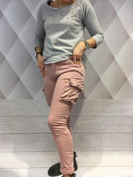 Spodnie różowe kieszeń perły S