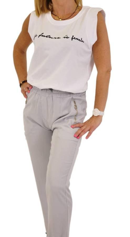 Spodnie szare z zamkami przy kieszeniach