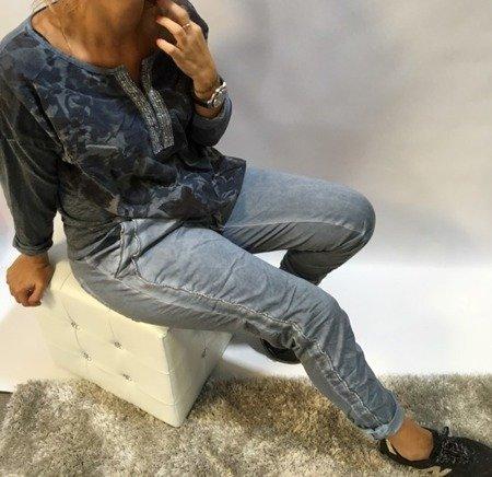 Spodnie z lampasem niebieskie