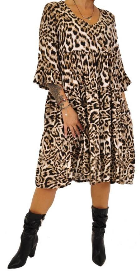 Sukienka V wycięcie wzór pantera