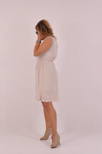 Sukienka beżowa dekolt v