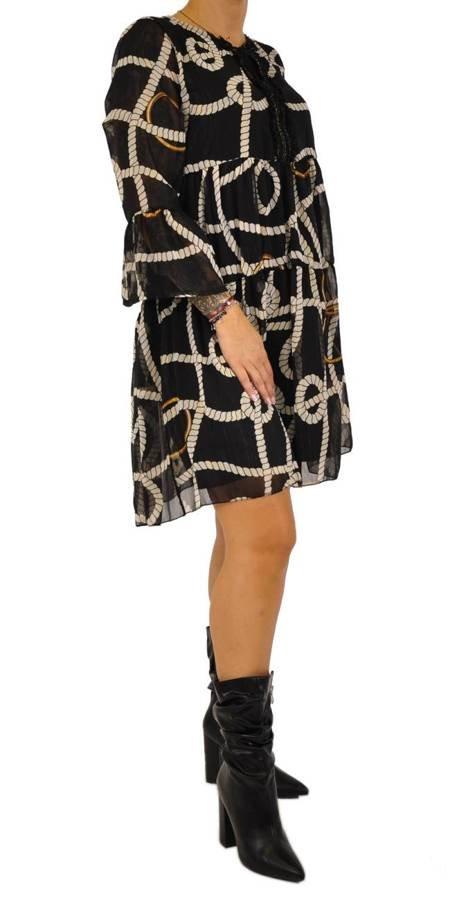 Sukienka czarna beżowy wzór wiązana przy dekolcie