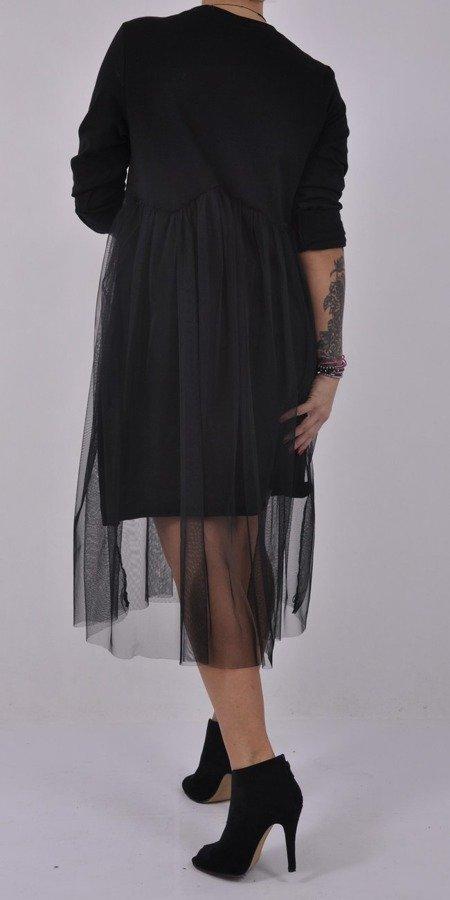 Sukienka czarna z tiulowym dołem