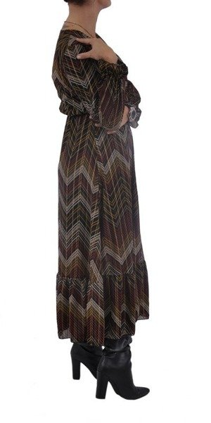 Sukienka długa wzór bordo