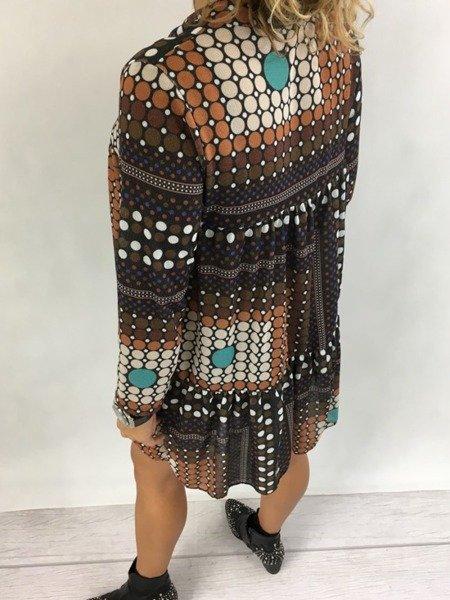 Sukienka grochy brąz