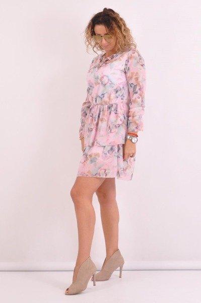 Sukienka-kwiaty-różowa