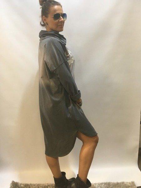 Sukienka szara z golfem