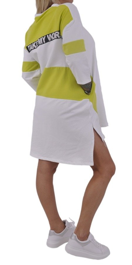 Sukienka tunika biała w zielone pasy