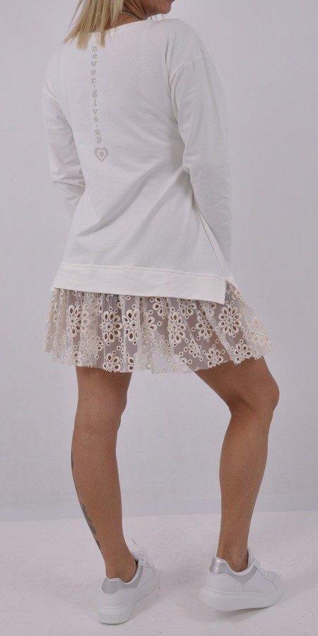 Sukienka, tunika kremowa z tiulowym dołem