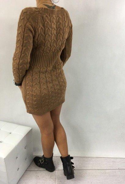 Sukienka warkocz kamel