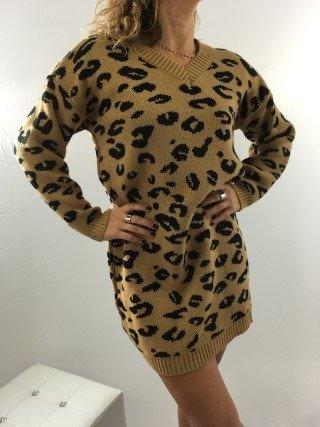 Sukienka wzór camelowa zimowa
