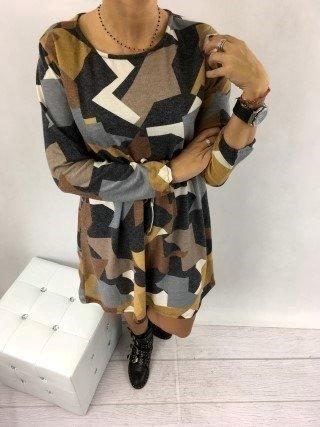 Sukienka wzór gumka w pasie
