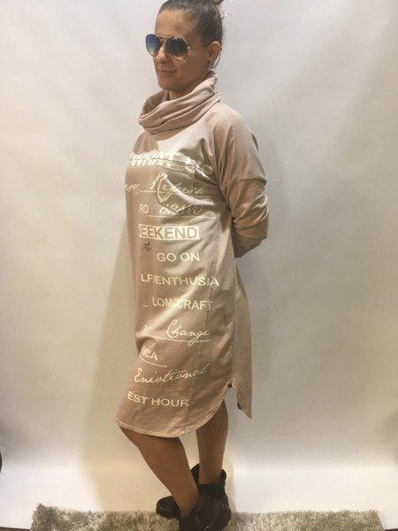 Sukienka z golfem różzowa