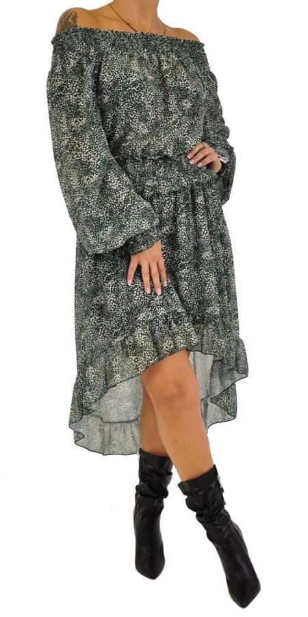 Sukienka zielona w kwiatki asymetryczna