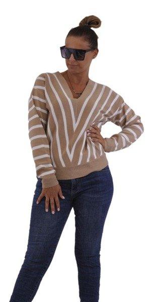 Sweter beżowy w białe paski