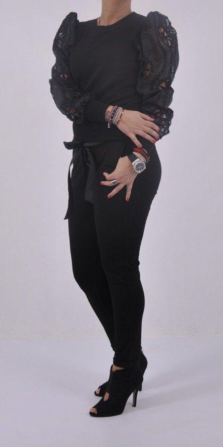 Sweter czarny rękaw tiul koronka S/M