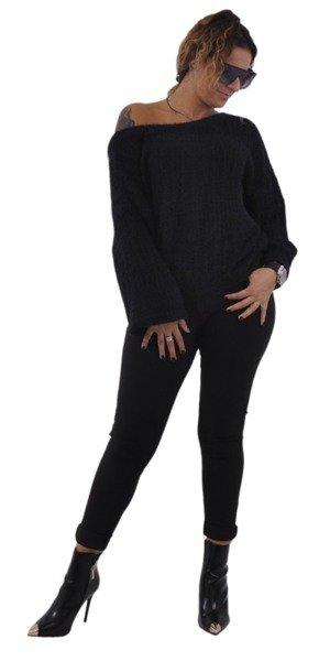 Sweter czarny z wiązaniem na plecach