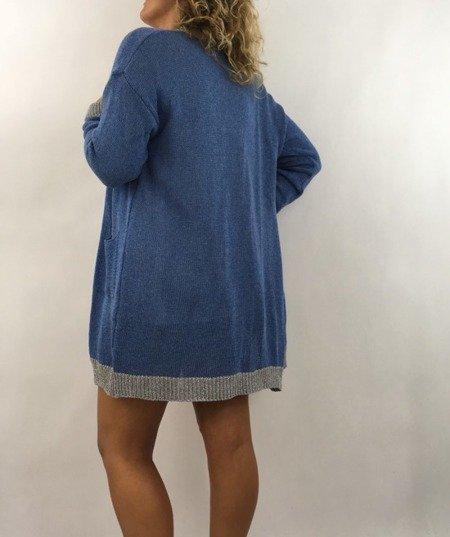Sweter kardigan niebieski lamówka
