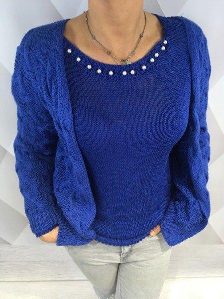 Sweter lużny warkocze chabrowy