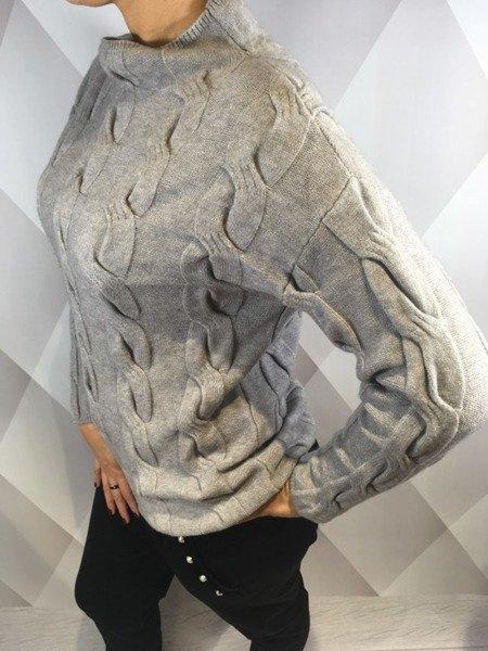Sweter warkocz szary